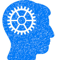Intellect cog grainy texture icon vector