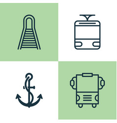 Transport icons set collection of railway anchor vector