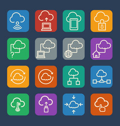 Cloud computing icons set for internet and vector