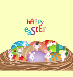 Easter with basket of eggs and bunny funny vector