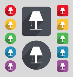 Lamp icon sign a set of 12 colored buttons and a vector