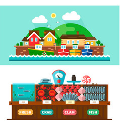Seaport landscapes and seafood market vector