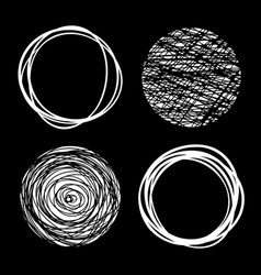 Set of white hand drawn scribble circles vector