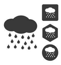 Rain icon set monochrome vector