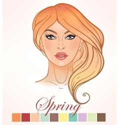 Seasonal skin color types for women spring vector