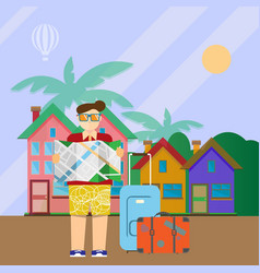 Tourist with map and suitcases vector