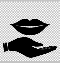 Lips sign flat style icon vector