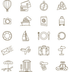 Travel icons line vector
