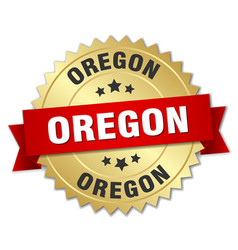 Oregon round golden badge with red ribbon vector