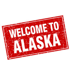 Alaska red square grunge welcome to stamp vector