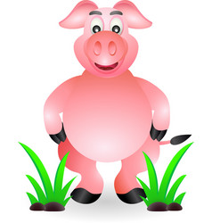 Funny standing pig cartoon vector