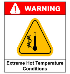 High temperature warning sign vector