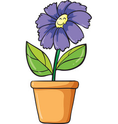 a blue flower and pot vector image
