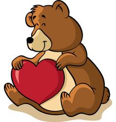 bear holding heart vector image vector image