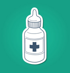 Bottle with drops or liquid drug vector image