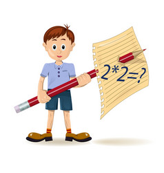 Boy and pencil vector image