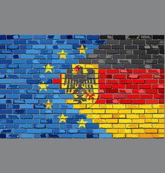 Brick wall european union and germany flags vector