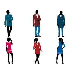 Businessmen and businesswomen silhouette vector