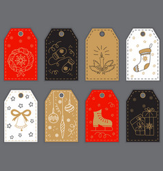 Christmas and New Year gift tags design with hand vector image