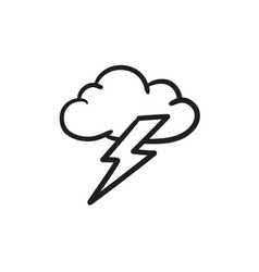 cloud and lightning bolt sketch icon vector image vector image