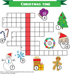 Crossword educational children game with answer vector image