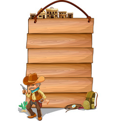 Empty wooden planks with a cowboy vector