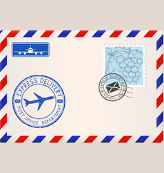 Envelope with stamps and postmarks international vector