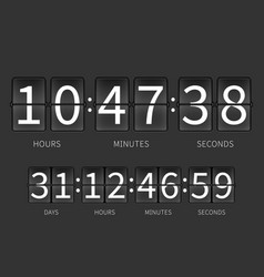 flip countdown timer hourly schedule vector image