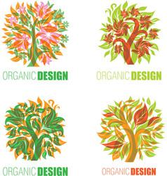 floral logo set 6 vector image vector image