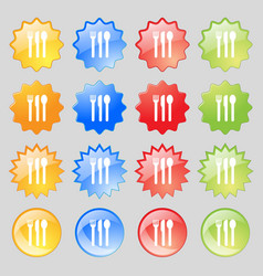 fork knife spoon icon sign Big set of 16 colorful vector image vector image