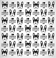 French Bulldog Pattern in Vintage Style vector image vector image