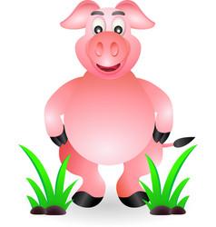 Funny standing pig cartoon vector