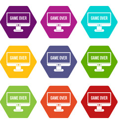 game over icon set color hexahedron vector image