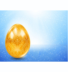 Golden egg on a background of blue rays vector image