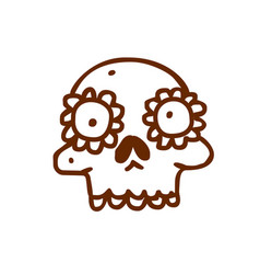 Hand drawn skull with floral element vector
