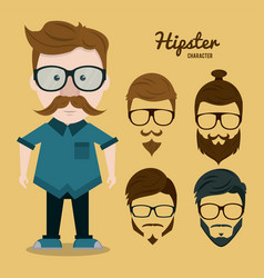 hipster character cartoon vector image