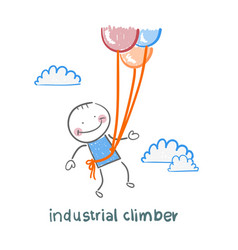 industrial climber flies on balloons vector image