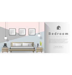Interior design Modern bedroom background 2 vector image vector image