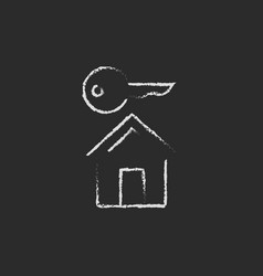 Key for house icon drawn in chalk vector image vector image