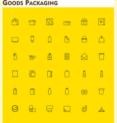 Linear packaging icon set vector image