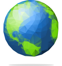 Low poly earth globe with shadow vector