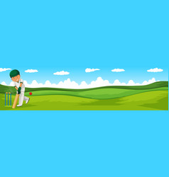 Man playing cricket in the field vector image