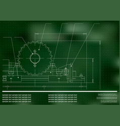Mechanical drawings on a green and white vector
