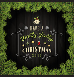 Merry christmas greeting card with ornaments vector