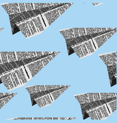 Paper planes seamless pattern on a blue background vector image