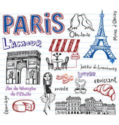 paris doodles vector image vector image