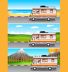 Scenes with children riding on camper van vector