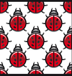 Seamless pattern of a red spotted ladybug vector