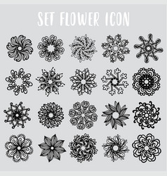 set icon geometric flowers vector image vector image