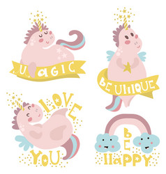 set of four magic unicorns with different type of vector image vector image